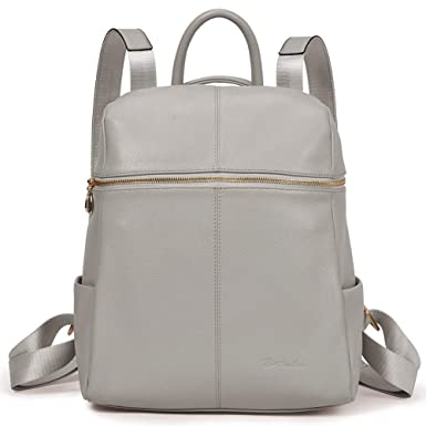 97d7708948 Amazon.com  BOSTANTEN Geniune Leather Fashion Backpack Purse Casual Bags  for Women Light Gray  Clothing