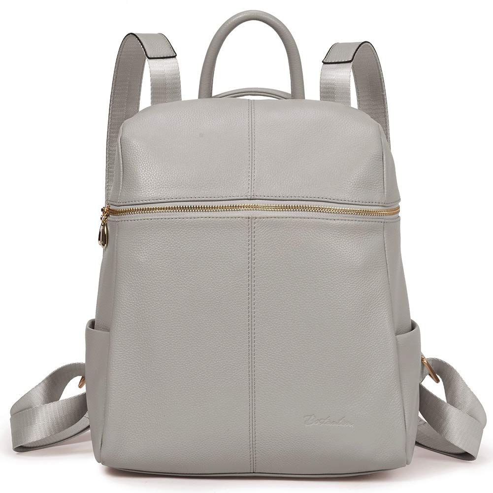 BOSTANTEN Geniune Leather Fashion Backpack Purse Casual Bags for Women Light Gray