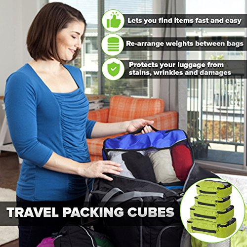 """Bago Travel Luggage Set - 27"""" Duffle - 8 Packing Cubes - Backpack & Toiletry Bag (Green)"""