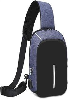 Yeying123 Les Hommes Et Les Femmes Sac À Main en Plein Air Loisir Multi-Fonction Petit Sac avec Port USB De Charge,Blue