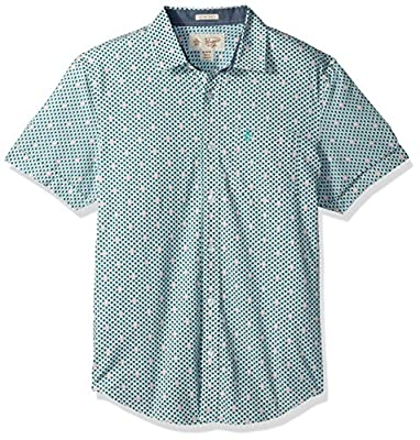 Original Penguin Men's Short Sleeve Cuffed Geo Palm Printed Shirt