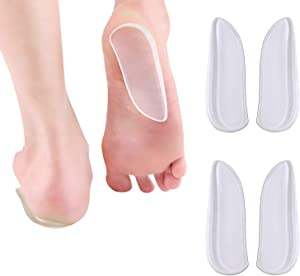 2 Pairs Medial & Lateral Heel Wedge Silicone Insoles - Corrective Adhesive Shoe Inserts for Foot Alignment, Knock Knee Pain, Bow Legs, Osteoarthritis for Men and Women