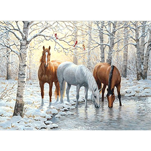 Horse Diamond (5D Diamond DIY Painting by Number Kits , AxiEr Diamond Crystal Rhinestone Embroidery Paintings Pictures Arts Craft , 11.8 x 15.7 Inches(Snow And Horses Drink In Winter))