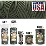 TOUGH-GRID 550lb Paracord/Parachute Cord - 100% Nylon Genuine Mil-Spec Type III Paracord Used by the US Military - Great for Bracelets and Lanyards - Made in the USA.