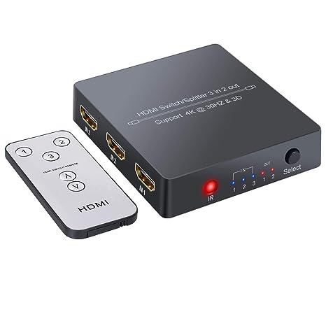 HDMI Switch 3 Entradas 2 Salidas 4K 3D Conmutador HDMI ...