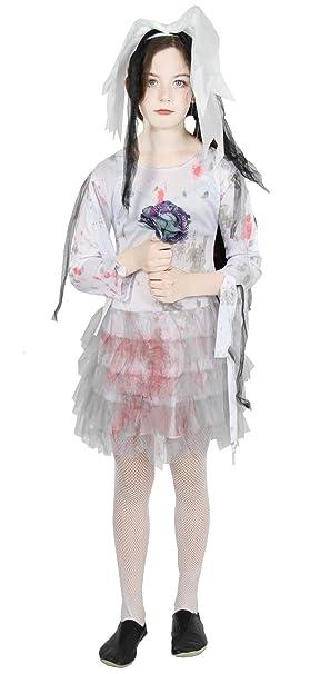 Foxxeo Bloody Zombie Traje de Novia para los niños - tamaño: 122 a ...