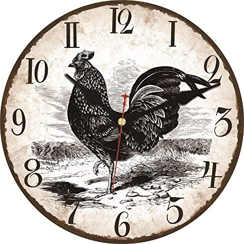 MEISTAR Wooden Simple Wall Clock,12 Inch Black Rooster Pattern Antique Vintage Decorative Arabic Numerals Wall Clock for Kitchen,Living Room,Bedroom (Clock Decorative Rooster)