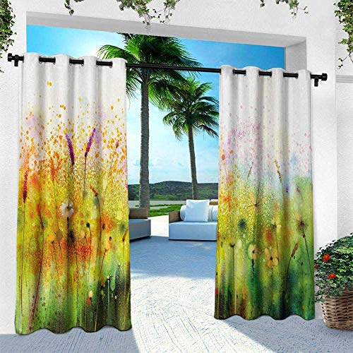 Hengshu Flower, Outdoor- Free Standing Outdoor Privacy Curtain,Trippy Violet Garden Made with Brushstrokes Psyhedelic Pattern Ferns Sketchy Paint Print, W96 x L84 Inch, Green