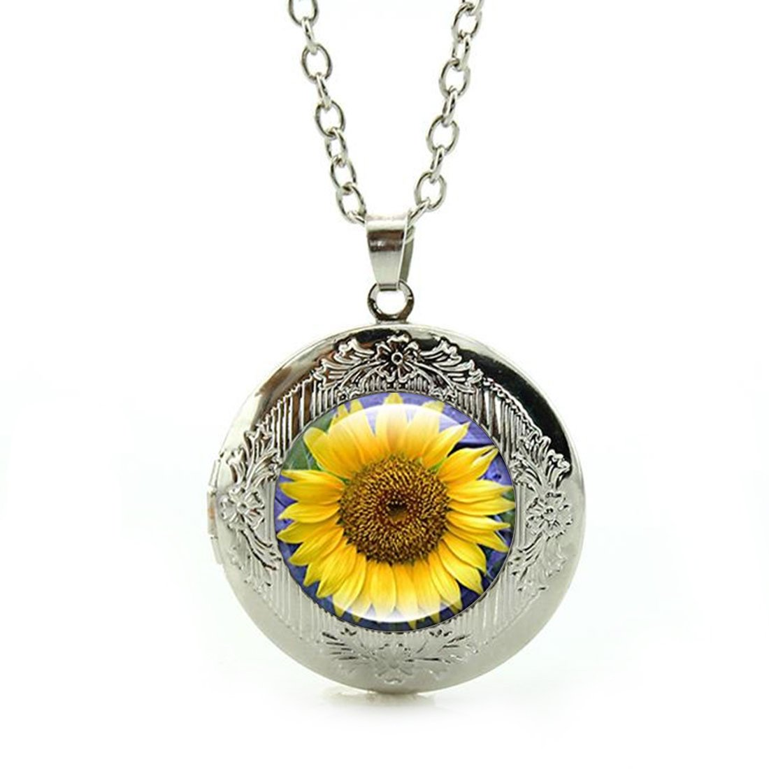 Custom Photo Glass Cabochon Pendant Necklace Sunflower Sterling Silver Plating Chain Circle Bead Choker Healing Amulet for Friends Gift by Anzona (Image #1)