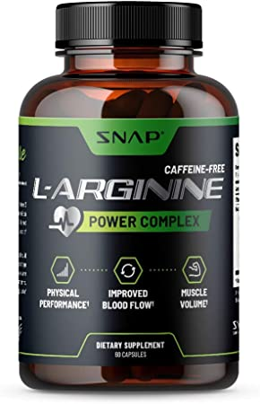 Snap L Arginine Capsules - Blood Circulation Supplements with Nitrosigine & L Citrulline for Natural Energy, Increase Blood Flow & Muscle Growth, Herbs for Cardio Health (60 Capsules)