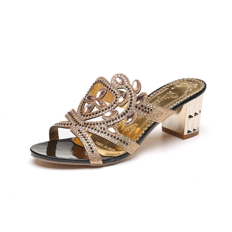 Damen Sommer Coole Hausschuhe High-Heel,Grobe Mode Sandalen-D Fußlänge=22.8CM(9Inch)