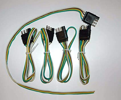 Amazon Com 5 Wiring Harness 4 Pin Connector Trailer End Bond 4 Way Flat Male Plug 24 Wire Car Electronics
