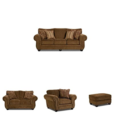 Amazon.com: Simmons Upholstery Outback 4 pc Living Room Set with ...