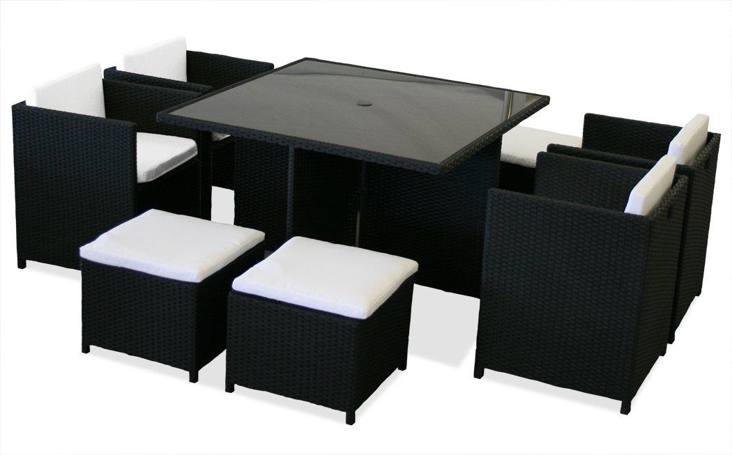 KMH®, 21-teilige Polyrattan Sitzgruppe London schwarz (inklusive Auflagen und Kissen) (#106114)