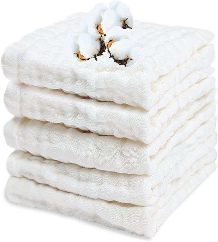 PPOGOO Baby Muslin Washcloths Purified Cotton Baby Wipes Newborn Baby Face Towel Excellent Soft Baby Shower Registry Gift 5 Pack 10/â/€�x 10/â/€� White