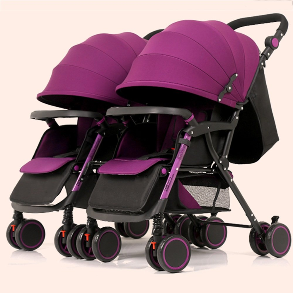 HAIZHEN マウンテンバイク ダブルツインベビーカーツインツインベビーカー2シートユニット、セーフティシートまたはクリップまたはベビーセーフティシートに対応。 新生児 B07CCHQY46 パープル ぱ゜ぷる パープル ぱ゜ぷる