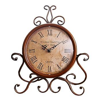 SESO UK- Reloj de Mesa de Hierro Retro Americano Creativo Escritorio silencioso Relojes Decorativos para la Sala de Estar: Amazon.es: Hogar