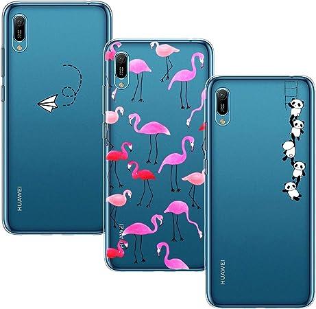 Yoowei [3-Pack] Cover per Huawei Y6 2019 Trasparente con Disegni, Morbida Silicone Ultra Sottile TPU Gel Custodia Protettiva per Huawei Y6 2019, ...