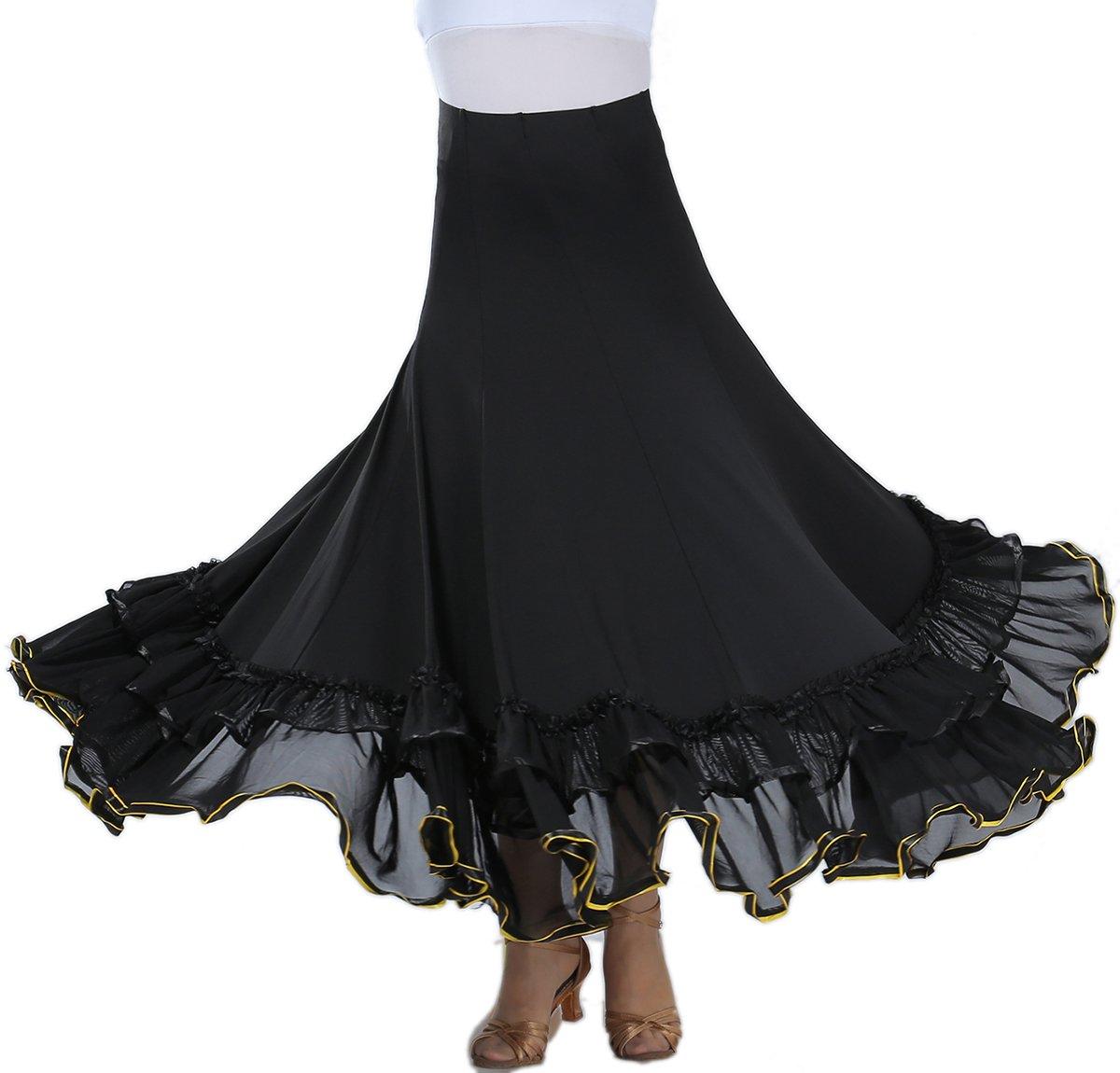 Long Flamenco Viennese Waltz Ballroom Dance Practice Wear Skirt Dancers Outfits