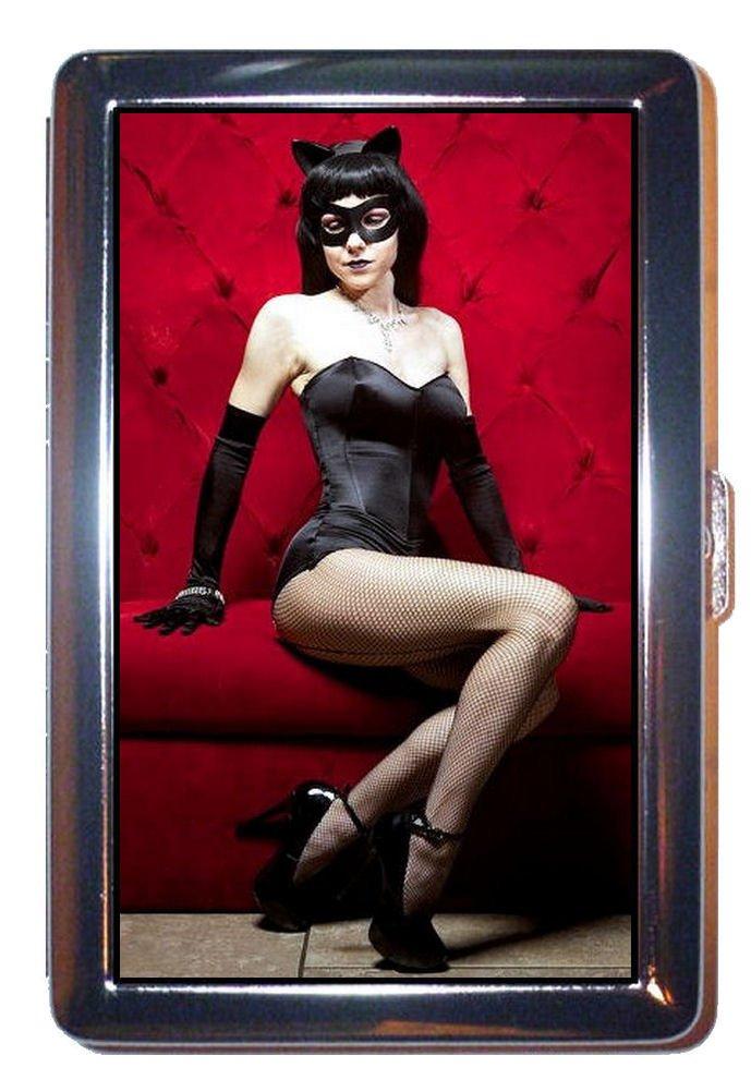Sexy brunette chica Pin Up en color negro Cat Suit: cartera de ID o funda para cigarrillos hechas en Estados Unidos.: Amazon.es: Oficina y papelería