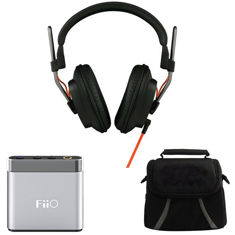 Fostex Professional Studio Headphones (T50RPMK3) with FiiO A1 Portable Headphone Amplifier (Silver) & Digpro Compact Deluxe Gadget Bag for Cameras/Camcorders