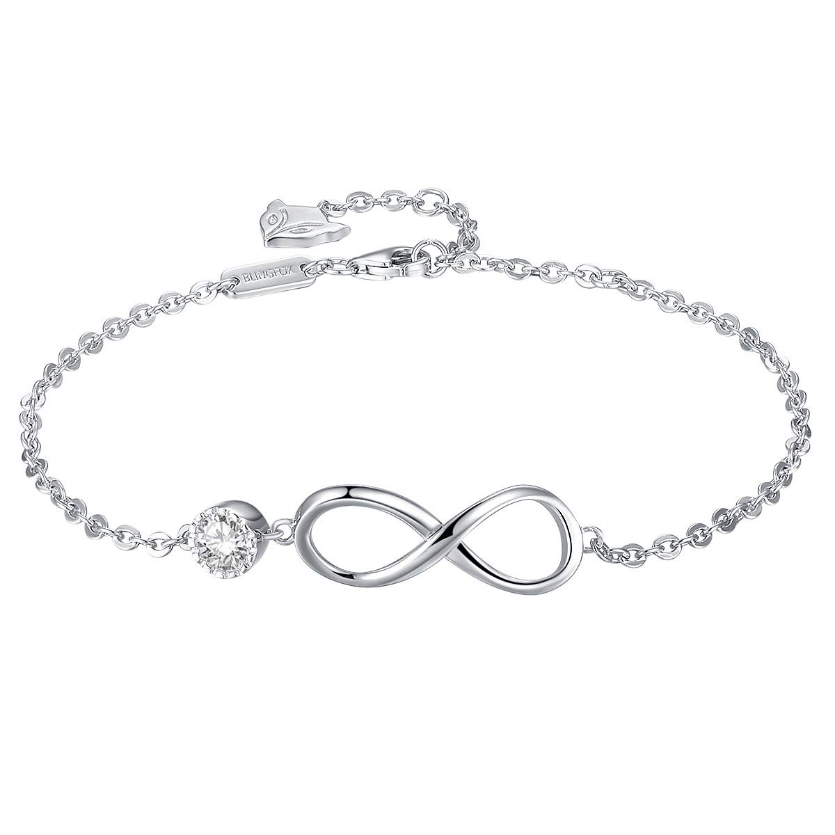 Blingfox 925 Sterling Silver Infinity Endless Love Bracelet