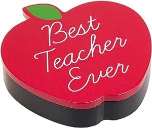 "Eccolo ""Best Teacher Ever"" Red Apple Wooden Trinket Box, Teacher & Mentor Gift, 6-x-6-Inches"