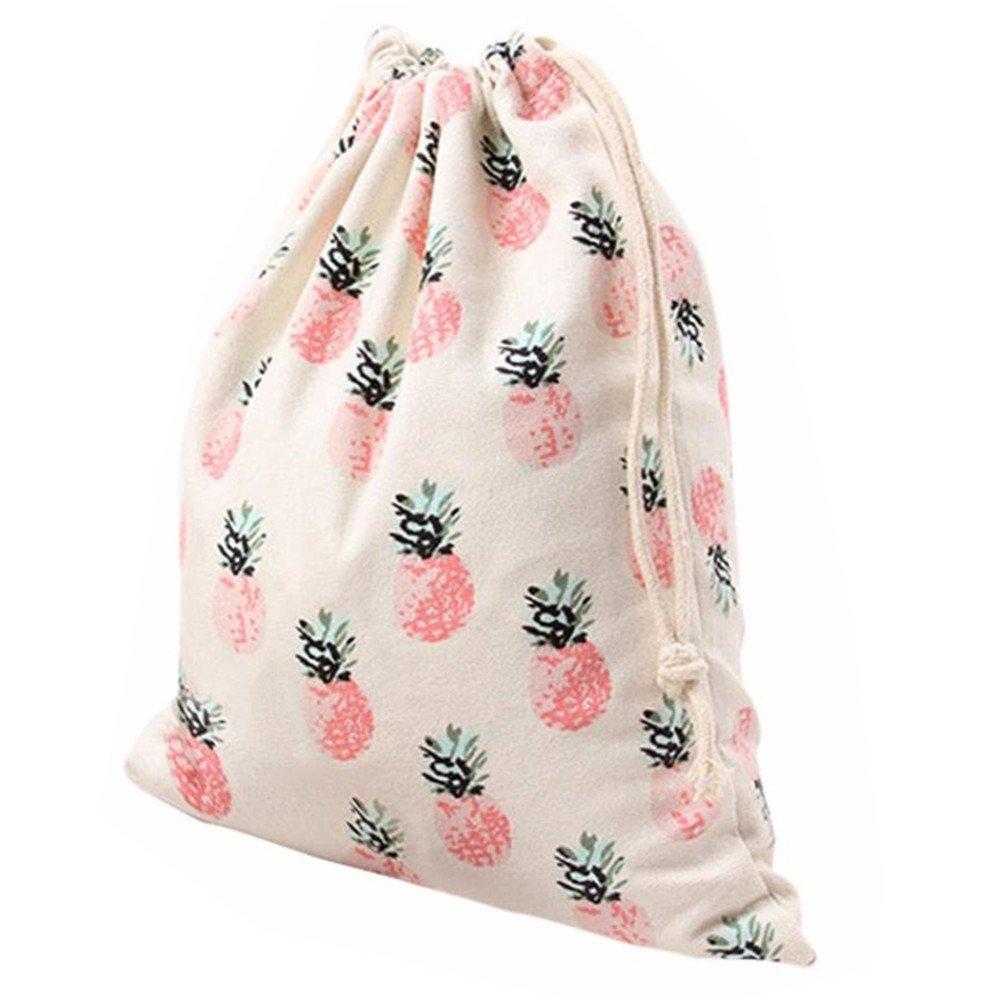 Vibola Pineapple Canvas Printing Drawstring Beam Port Storage Bag Travel Bag Gift Bag (Pink L)