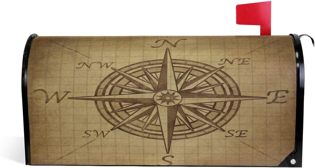 Linomo Magnetic Mailbox Cover Vintage Nautical Compass Mailbox Wrap Post Letter Box Cover Home Garden Yard Outdoor Deco for Standard Size 21 X 18 Inch
