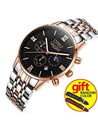 Men Sport Steel Waterproof Wristwatch Men Watches Brand Luxury Fashion Business Quartz Watch Manufacturer (Rose gold and black)