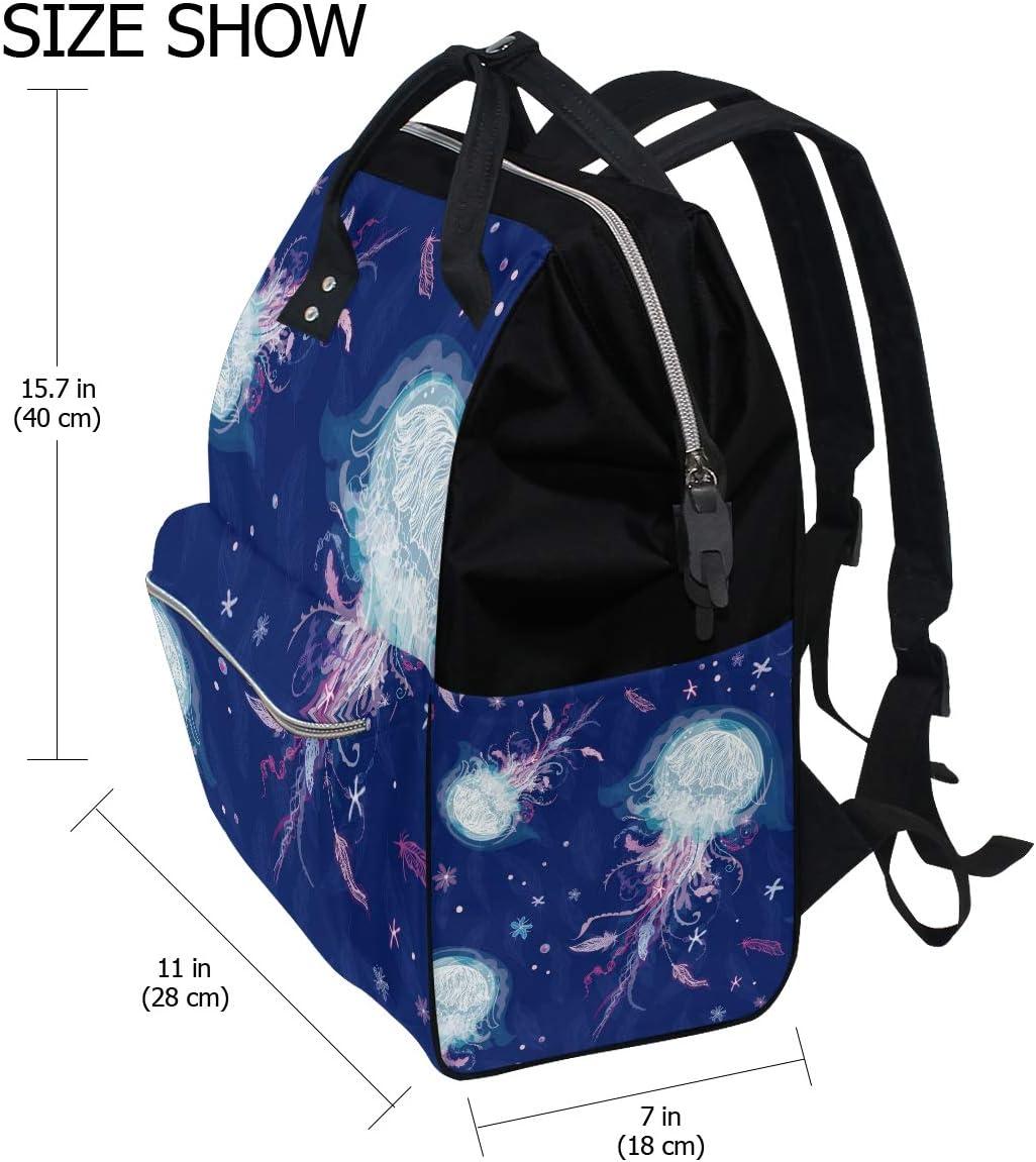 Jellyfish Dark Blue School Backpack Large Capacity Mummy Bags Laptop Handbag Casual Travel Rucksack Satchel For Women Men Adult Teen Children