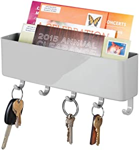 mDesign Wall Mount Modern Plastic Mail Organizer Storage Basket - 5 Hooks - for Entryway, Mudroom, Hallway, Kitchen, Office - Holds Letters, Magazines, Coats, Keys - Gray