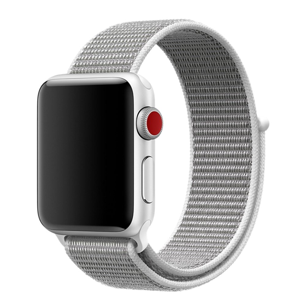 BEA FASHION For Apple Watch Band Soft Breathable Woven Nylon Replacement Sport Loop Band for Apple Watch Series 3/2/1 (Seashell, 38mm)