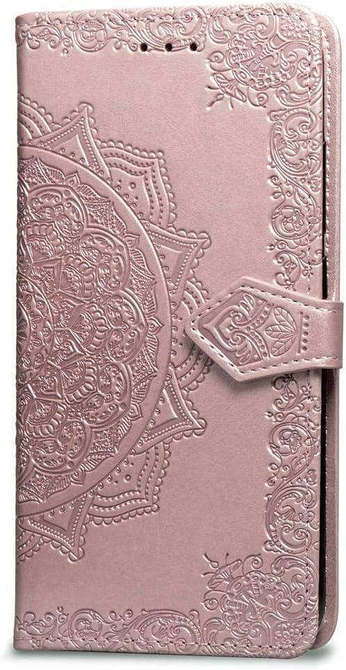Oihxse Funda con Huawei Enjoy 7/Y6 Pro 2017, Cuero PU Billetera Cierre Magnético Flip Libro Folio Tapa Carcasa Relieve Soporte Plegable Ranuras para Tarjetas Protección Caso(Oro Rosa)