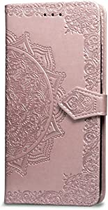 iPhone 7 Wallet Case Rose Gold Mandala, iPhone 8 Flip Case with Card Holder, Patterned Faux Leather Phone Cover with Magnet Kickstand & Wrist Strap for iPhone 7 & iPhone 8 Case Women