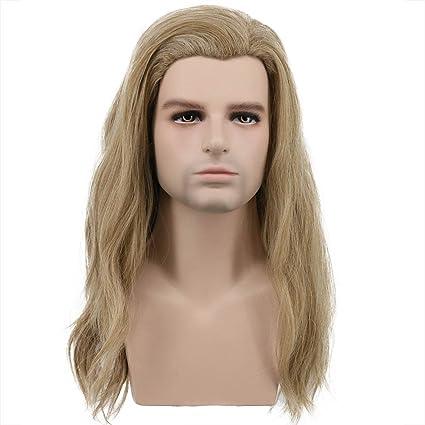Karlery Peluca larga para hombre, rizada, rubio y marrón claro, para disfraz de