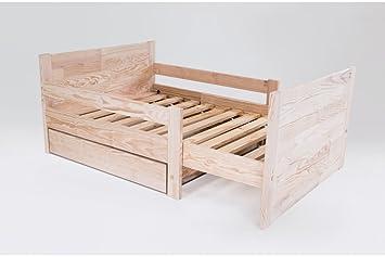 ABC MEUBLES - Cama evolutiva niño con cajón de madera - EVOL90 - Barniz Natural: Amazon.es: Hogar
