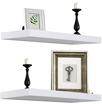Sorbus Floating Shelf — Hanging Wall Shelves Decoration — Perfect Trophy Display, Photo Frames (White) by Sorbus