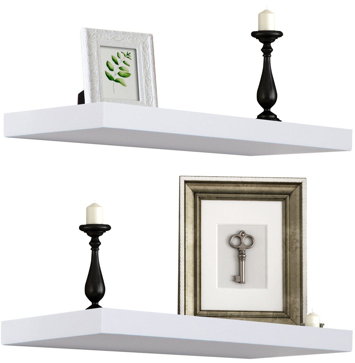 Sorbus Floating Shelf — Hanging Wall Shelves Decoration — Perfect Trophy Display, Photo Frames (White) by Sorbus (Image #1)