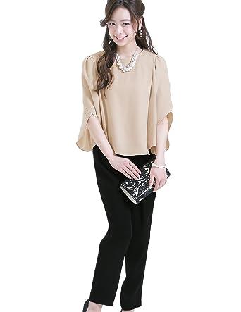 fa74acfc99205 プールヴー セットアップ パンツドレス お呼ばれ 女子会 レディース ベージュ×ブラック Sサイズ 7号 ドレス