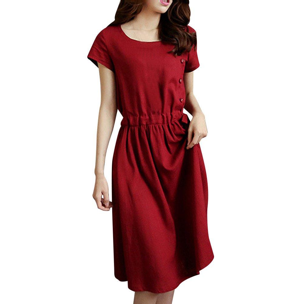 Fudule Women Dresses, Women's Casual Dress Fashion Women Short Sleeve O Neck Pocket Cotton Linen Loose Casual Dresses