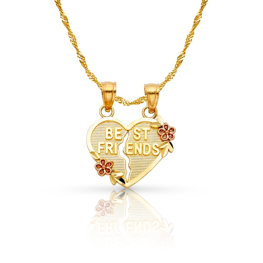 14K Yellow GoldBEST FRIENDS Broken Heart Charm Pendant with 1.2mm Singapore Chain Necklace