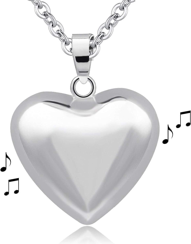 Crea & Co - Bola de embarazo, diseño de corazón, llamador de ángel chapado en plata, cadena larga, 114 cm, joya musical con timbre sonoro para ...