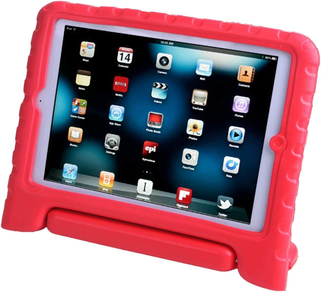 AGRIGLE iPad Mini Case, [Kids Series] Shock Proof Convertible Handle Light Weight Super Protective Stand Cover Case for Apple iPad Mini/Mini 2/Mini 3 (Red)