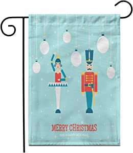"Adowyee 28""x 40"" Garden Flag Nutcracker Toys Christmas Ornaments Flat Greetings Cardnutcracker Animal Ball Ballerina Outdoor Double Sided Decorative House Yard Flags"