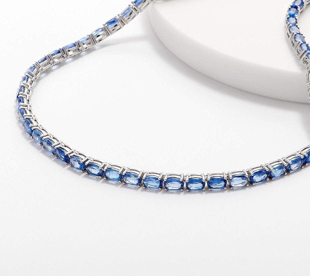 Silvernshine Jewels - Collar de plata de ley 925 con piedras preciosas de tenis y diamantes de zafiro azules ovalados de 2,30 quilates