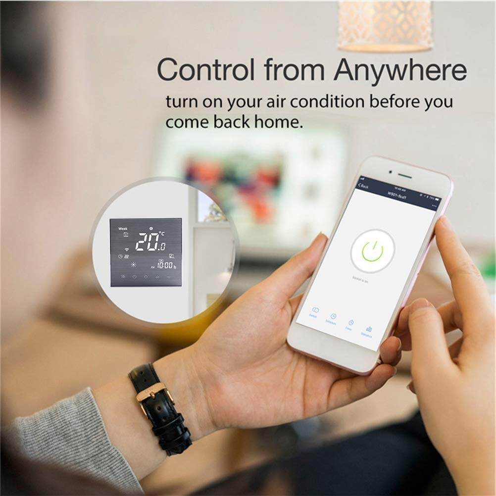 Smart Wifi Thermostat Wifi Programmierbarer Wasserthermostat LCD Display Temperaturregler Kompatibel mit Alexa Google Home IFTTT 5A,Haarstrich-Finish-Prozess