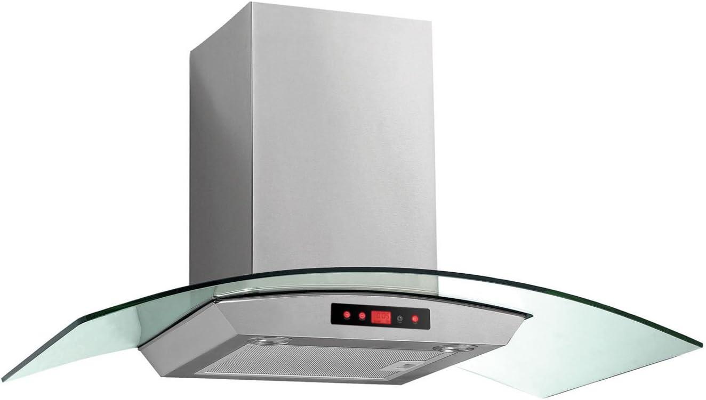 Baumatic btc9750gl 90 cm chimenea campana – Acero inoxidable/cristal. Da claramente vista a tu cocina y crear una luz ambiental en la cocina: Amazon.es: Grandes electrodomésticos