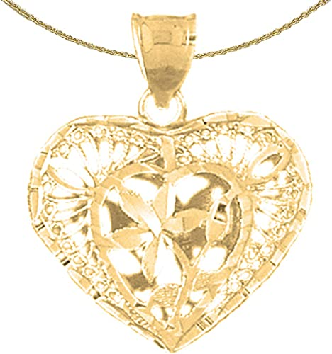 14K Yellow Gold-plated 925 Silver Heart Pendant with 30 Necklace Jewels Obsession Heart Necklace