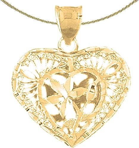 28 mm Jewels Obsession 3D Filigree Heart Pendant Sterling Silver 925 3D Filigree Heart Pendant